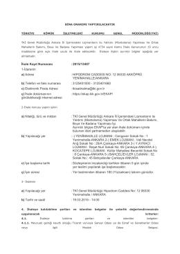 İhale Kayıt Numarası :2015/13407 1-İdarenin a) Adresi