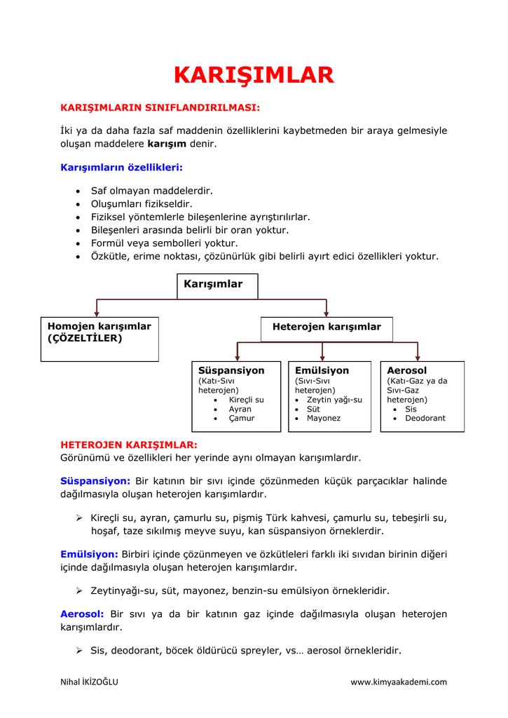 homojen karışımlar özellikleri