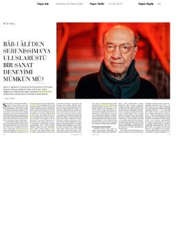 İstanbul Art News Ek5 Yayın Tarihi : 01.03.2015 Küpür Sayfa : 62
