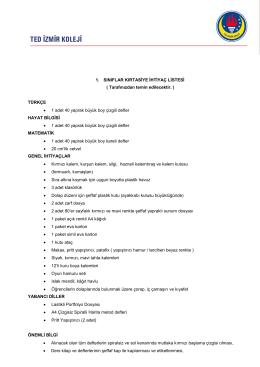 ilkokul 1. sınıf ihtiyaç listesi