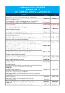 Li̇sans Programları 2015-2016 Eği̇ti̇m Öğreti̇m Yılı Akademi̇k