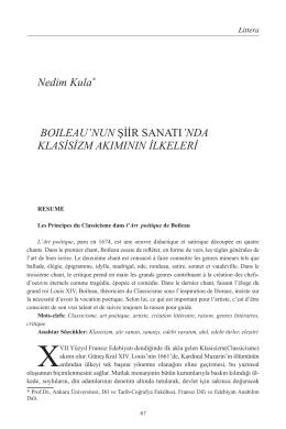 Nedim Kula Boileau`nun Şiir Sanatı`nda Klasisizm Akımının İlkeleri