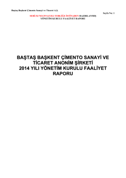 2014 Yönetim Kurulu Faaliyet Raporu