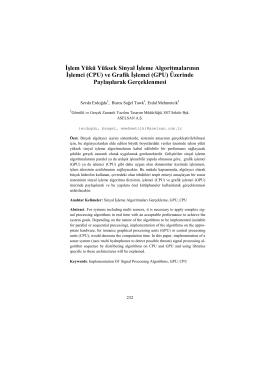 İşlem Yükü Yüksek Sinyal İşleme Algoritmalarının İşlemci (CPU) ve