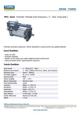 PPCL Serisi Pnömatik- Pnömatik lineer Pozisyoner, ( 3