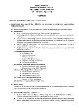 2014-2015 Eğitim Öğretim Yılı Akademik Genel