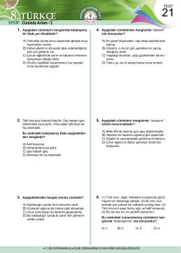 6.HAFTA TESTLERİNİN TAMAMINI ve CEVAP ANAHTARLARINI