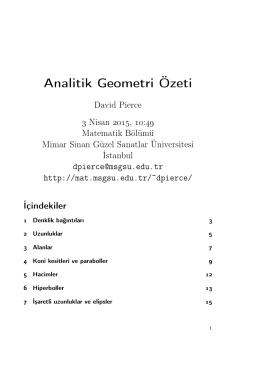 Analitik Geometri Özeti - Matematik Bölümü