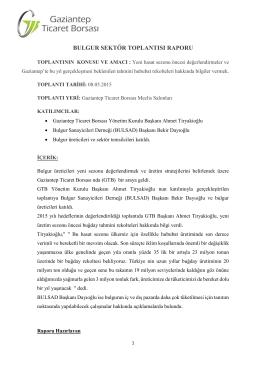 bulgur sektör toplantısı raporu