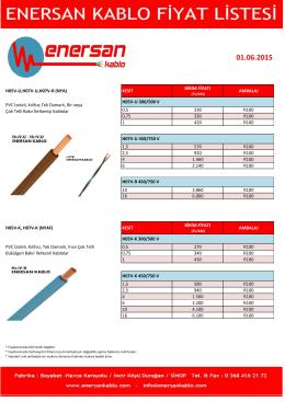 Fiyat Listesi - Enersan Kablo