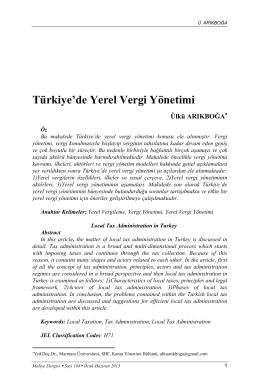 Türkiye`de Yerel Vergi Yönetimi