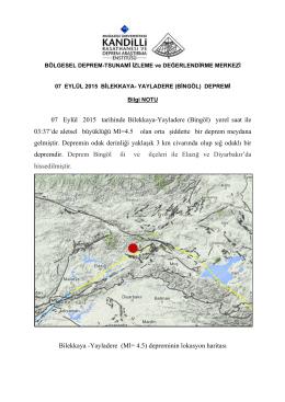 07 Eylül 2015 tarihinde Bilekkaya-Yayladere (Bingöl) yerel saat ile