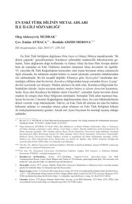 En Eski Türk Dilinin Metal Adları İle İlgili Sözvarlığı