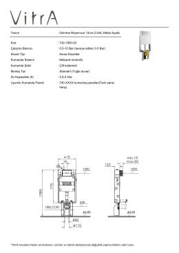 Tanım : Gömme Rezervuar 12cm-2,5/4L-Metal Ayaklı Kod