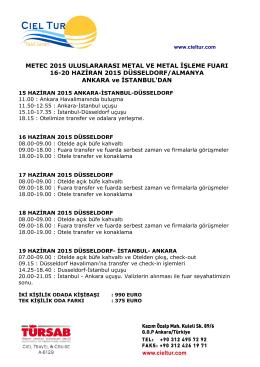 METEC 2015 ULUSLARARASI METAL VE METAL İŞLEME FUARI