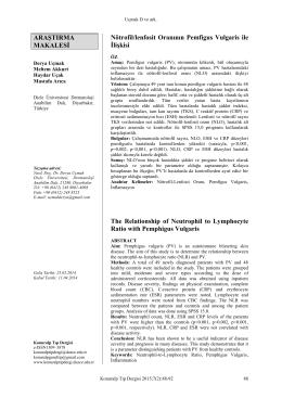 ARAŞTIRMA MAKALESİ Nötrofil/lenfosit Oranının Pemfigus Vulgaris