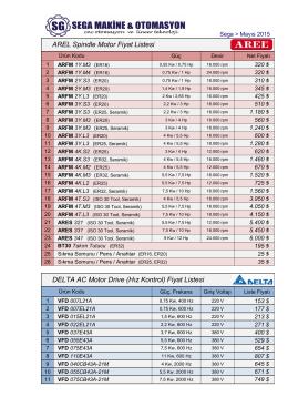 AREL Spindle Motor Fiyat Listesi DELTA AC Motor Drive (Hız Kontrol)