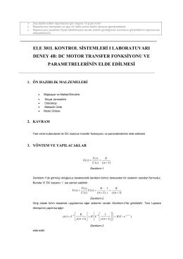 dc motor transfer fonksiyonu ve parametrelerinin elde edilmesi