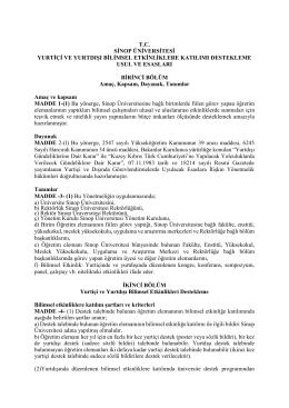 tc sinop üniversitesi yurtiçi ve yurtdışı bilimsel etkinliklere katılımı