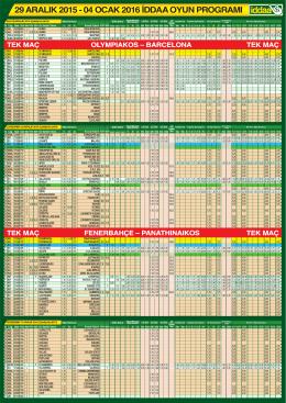 29 aralık 2015 - 04 ocak 2016 iddaa oyun programı