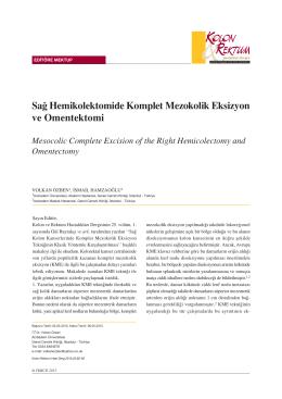 Sa¤ Hemikolektomide Komplet Mezokolik Eksizyon ve Omentektomi