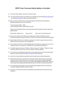 ODTÜ Tenis Turnuvası Katılım Şartları ve Kuralları