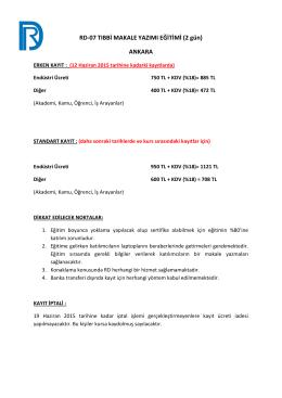 RD-07 TIBBİ MAKALE YAZIMI EĞİTİMİ (2 gün) ANKARA