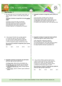 Dil ve Anlatım Testleri Bölüm 3 13 Test