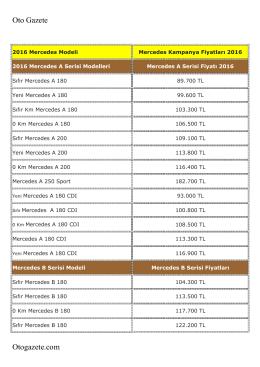 Mercedes 2016 Fiyatlarını PDF formatında
