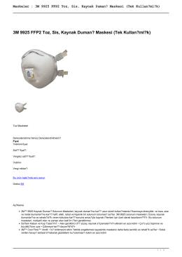 3M 9925 FFP2 Toz, Sis, Kaynak Dumanı Maskesi (Tek Kullanımlık)
