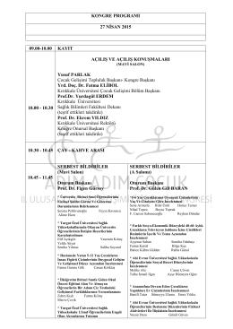 Kongre Programı - Kırıkkale Üniversitesi