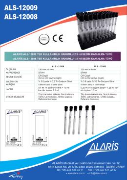 ESR Tüp Broşür - Alaris Medikal ve Elektronik Sistemler