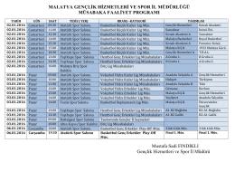 haftalık program 06-01-2016 - Malatya Gençlik ve Spor İl Müdürlüğü