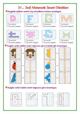 3/… Sınıfı Matematik Simetri Etkinlikleri