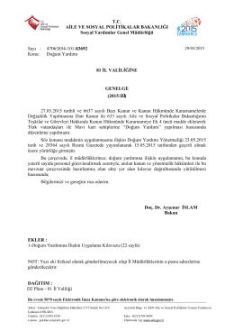 """2015/01 sayılı Genelge """"Doğum Yardımı"""""""
