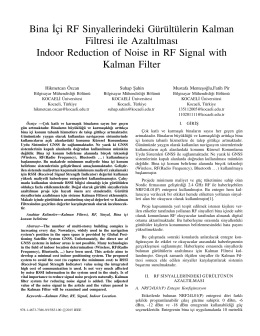 Bina˙Içi RF Sinyallerindeki Gürültülerin Kalman Filtresi ile
