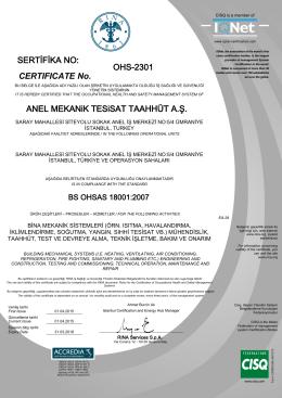 AnelMekanik OHSAS 18001