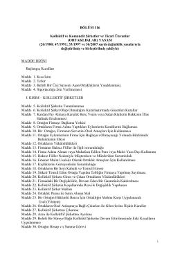 Kollektif ve Komandit Şirketler Yasası Fasıl 116