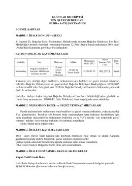 Teknik Şartname - Bağcılar Belediyesi