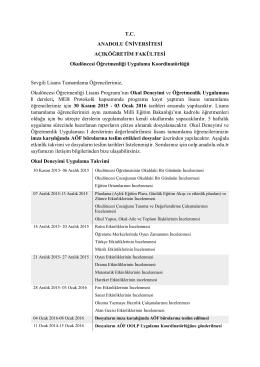 T.C. ANADOLU ÜNİVERSİTESİ AÇIKÖĞRETİM FAKÜLTESİ