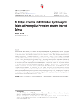 An Analysis of Science Student Teachers` Epistemological Beliefs