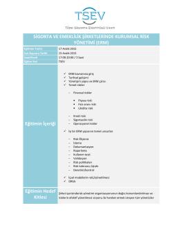 Sigorta ve Emeklilik Şirketlerinde Kurumsal Risk Yönetimi (ERM)
