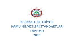kırıkkale belediyesi kamu hizmetleri standartları taplosu 2015