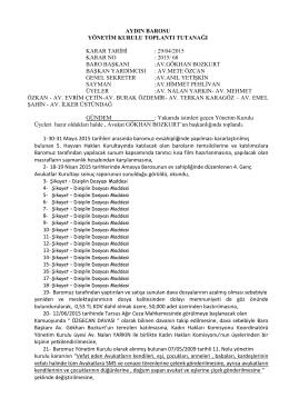 29-04-2015 Tarihli Yönetim Kurulu Kararları