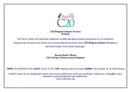 C20 Bölgesel İstişare Forumu Brüksel C20 (Sivil Toplum