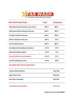 Star Wash Fiyat Listesi Fiyat Kampanya