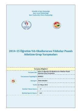 2014-15 Öğretim Yılı Okullararası Yıldızlar Puanlı