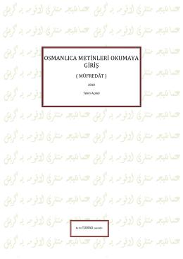 Osmanlı Türkçesi Okumaya Giriş 1