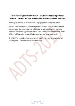 """Türk Mikrobiyoloji Cemiyeti-ADTS Grubunun hazırladığı """"Kısıtlı"""