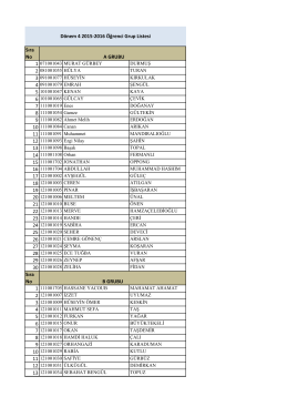 Sıra No Sıra No Dönem 4 2015-2016 Öğrenci Grup Listesi B